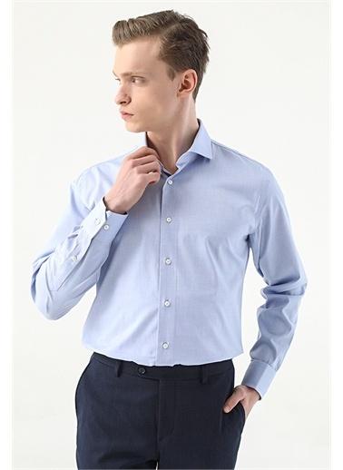 Damat Damat Slim Fit Beyaz Desenli Gömlek Mavi